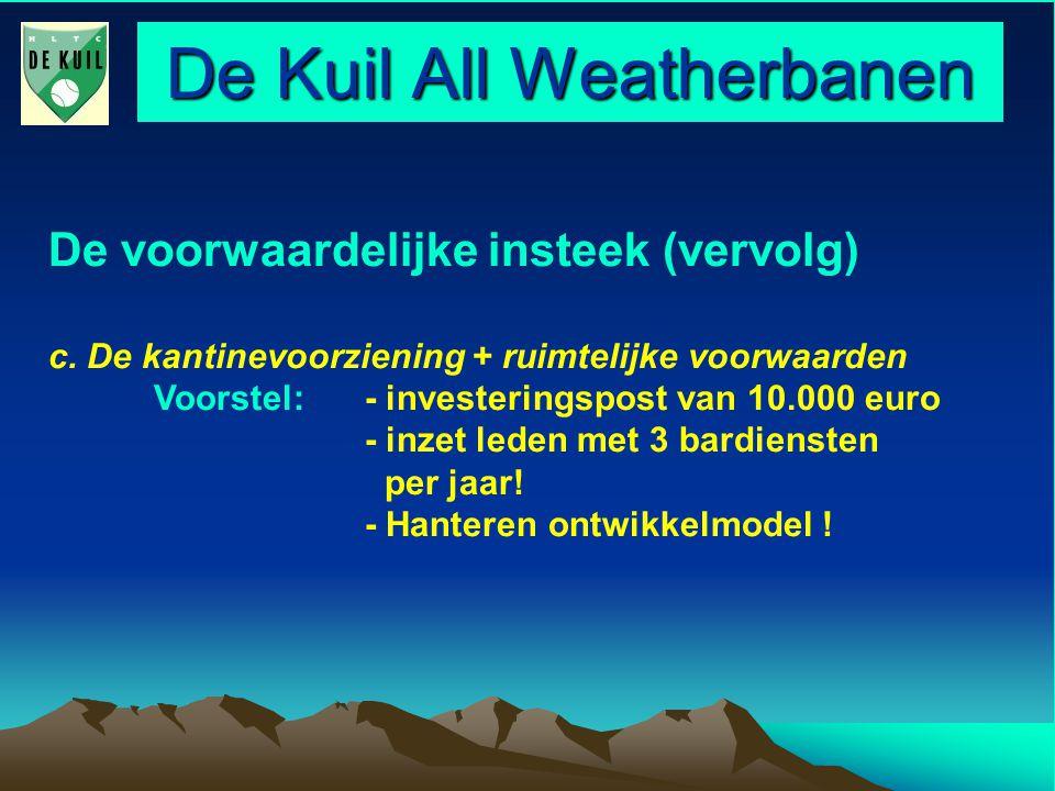 De Kuil All Weatherbanen De voorwaardelijke insteek (vervolg) c.