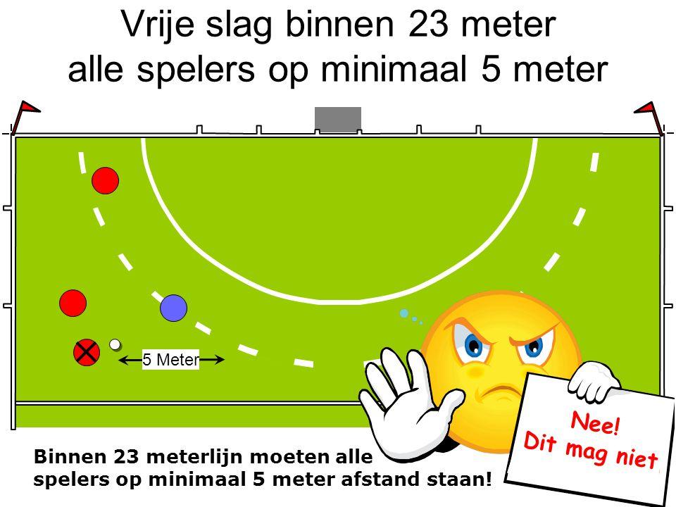 Vrije slag binnen 23 meter alle spelers op minimaal 5 meter Binnen 23 meterlijn moeten alle spelers op minimaal 5 meter afstand staan! 5 Meter Nee! Di