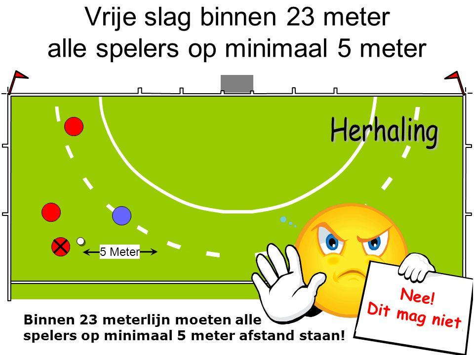 Vrije slag binnen 23 meter alle spelers op minimaal 5 meter 5 Meter Nee! Dit mag niet Binnen 23 meterlijn moeten alle spelers op minimaal 5 meter afst