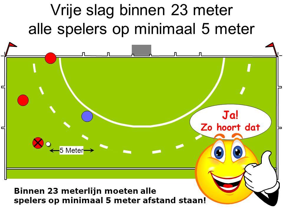 Vrije slag binnen 23 meter alle spelers op minimaal 5 meter 5 Meter Binnen 23 meterlijn moeten alle spelers op minimaal 5 meter afstand staan! Ja! Zo