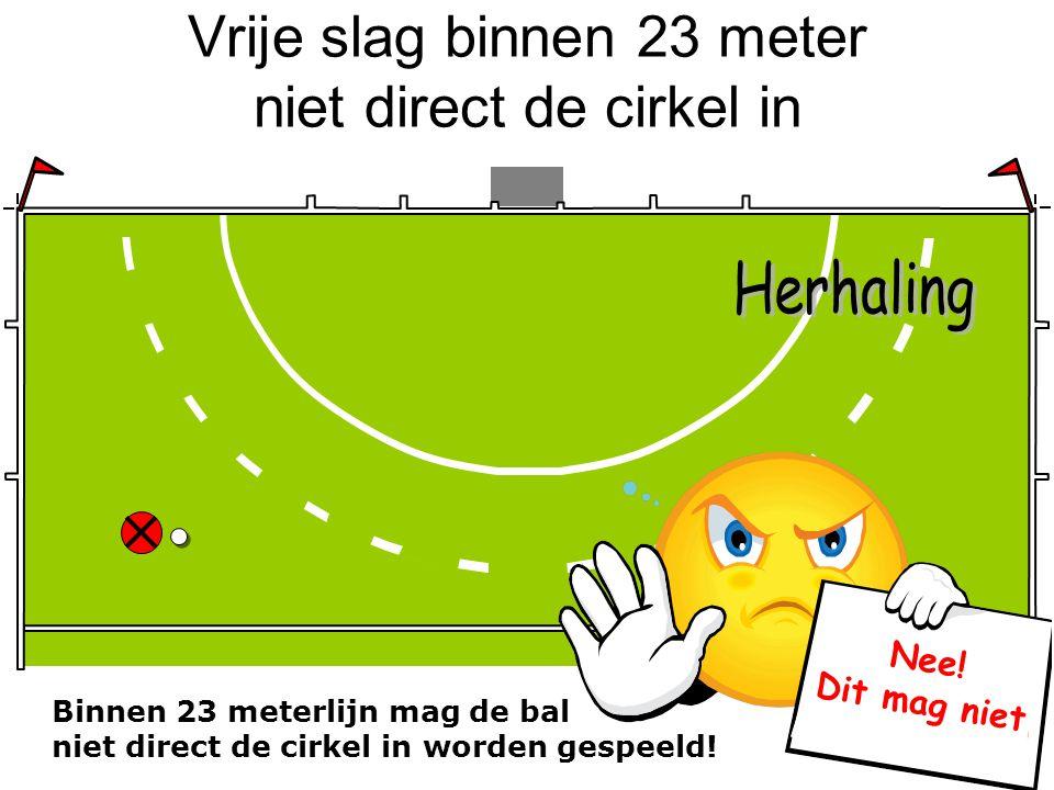 Vrije slag binnen 23 meter niet direct de cirkel in Binnen 23 meterlijn mag de bal niet direct de cirkel in worden gespeeld! Nee! Dit mag niet