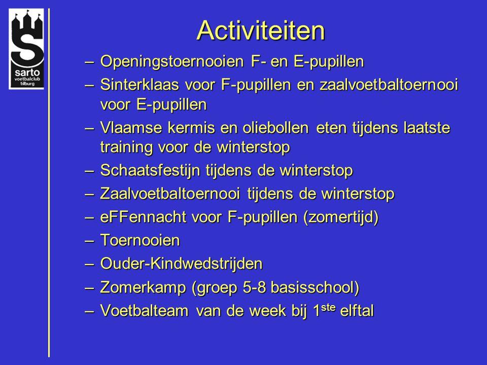 Activiteiten –Openingstoernooien F- en E-pupillen –Sinterklaas voor F-pupillen en zaalvoetbaltoernooi voor E-pupillen –Vlaamse kermis en oliebollen et
