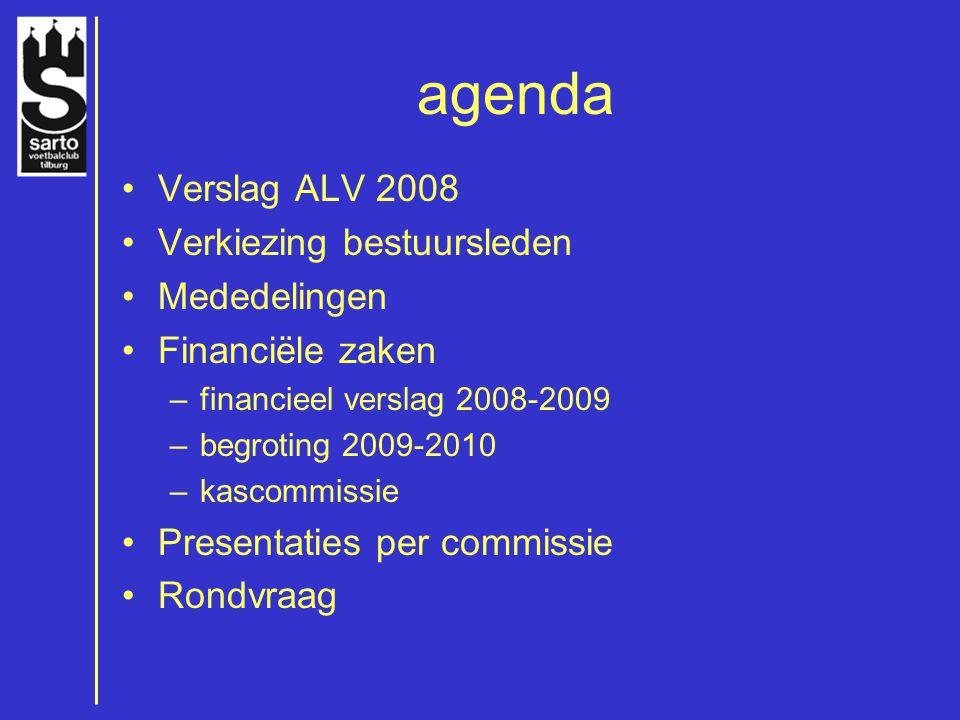 agenda Verslag ALV 2008 Verkiezing bestuursleden Mededelingen Financiële zaken –financieel verslag 2008-2009 –begroting 2009-2010 –kascommissie Presentaties per commissie Rondvraag