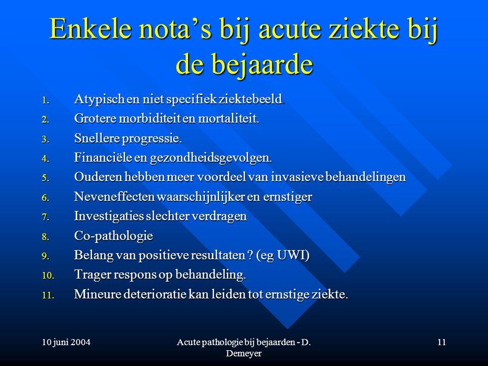 10 juni 2004Acute pathologie bij bejaarden - D. Demeyer 11 Enkele nota's bij acute ziekte bij de bejaarde 1. Atypisch en niet specifiek ziektebeeld. 2