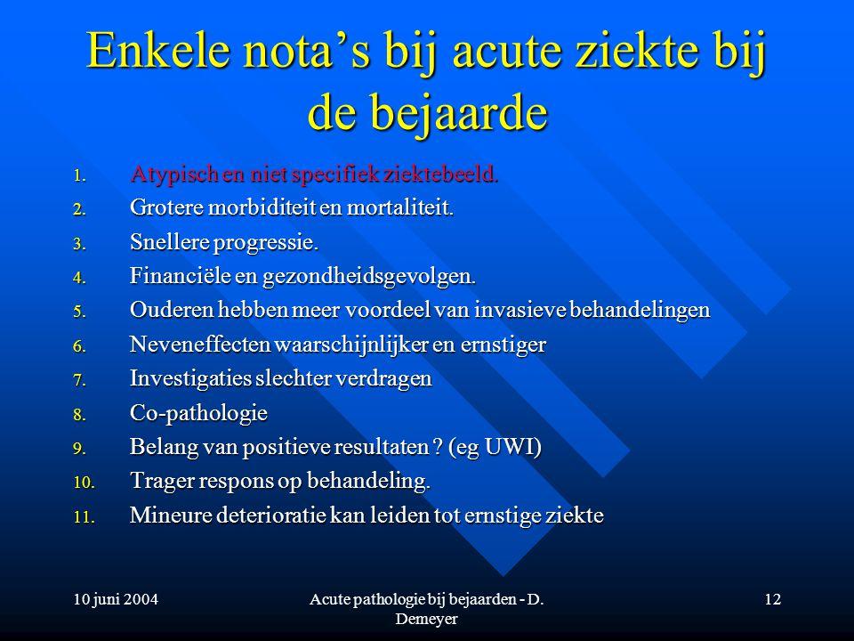 10 juni 2004Acute pathologie bij bejaarden - D. Demeyer 12 Enkele nota's bij acute ziekte bij de bejaarde 1. Atypisch en niet specifiek ziektebeeld. 2