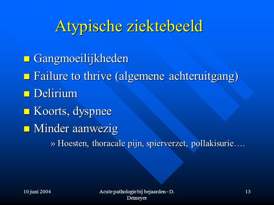 10 juni 2004Acute pathologie bij bejaarden - D. Demeyer 13 Atypische ziektebeeld Gangmoeilijkheden Gangmoeilijkheden Failure to thrive (algemene achte