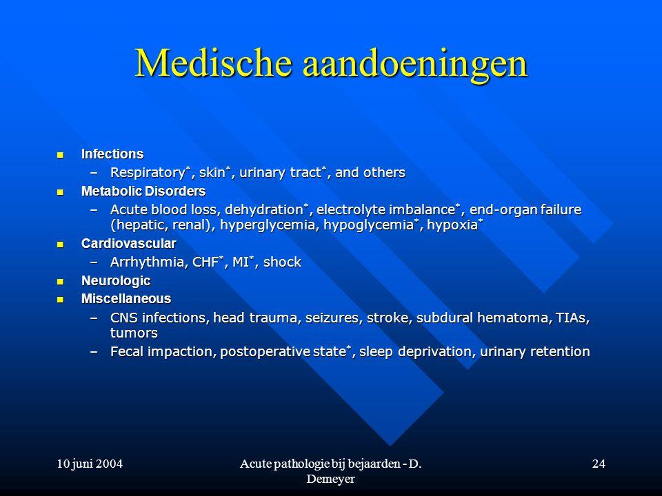 10 juni 2004Acute pathologie bij bejaarden - D. Demeyer 24 Medische aandoeningen Infections Infections –Respiratory *, skin *, urinary tract *, and ot
