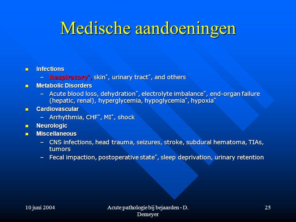 10 juni 2004Acute pathologie bij bejaarden - D. Demeyer 25 Medische aandoeningen Infections Infections –Respiratory *, skin *, urinary tract *, and ot