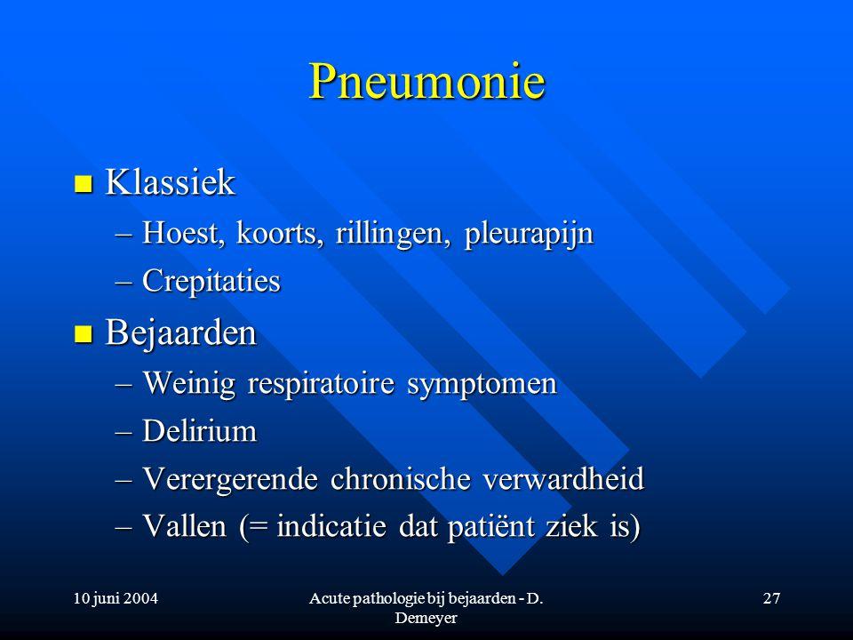 10 juni 2004Acute pathologie bij bejaarden - D. Demeyer 27 Pneumonie Klassiek Klassiek –Hoest, koorts, rillingen, pleurapijn –Crepitaties Bejaarden Be
