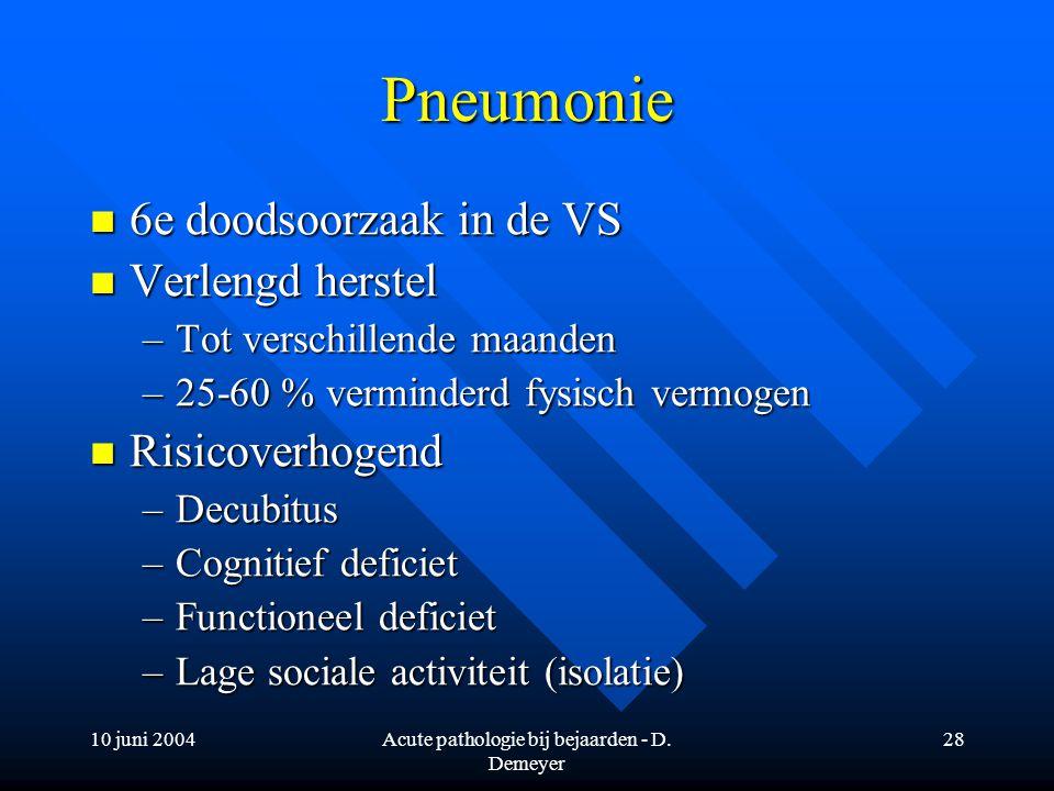 10 juni 2004Acute pathologie bij bejaarden - D. Demeyer 28 Pneumonie 6e doodsoorzaak in de VS 6e doodsoorzaak in de VS Verlengd herstel Verlengd herst