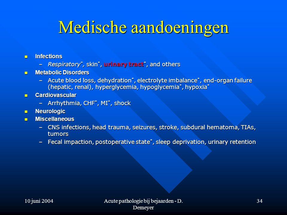 10 juni 2004Acute pathologie bij bejaarden - D. Demeyer 34 Medische aandoeningen Infections Infections –Respiratory *, skin *, urinary tract *, and ot