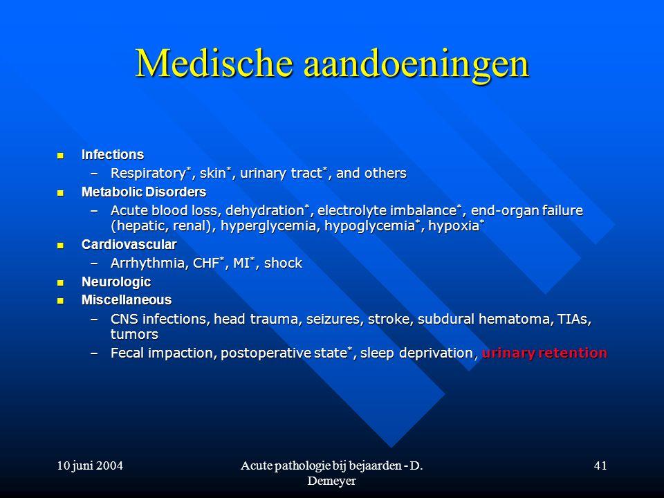 10 juni 2004Acute pathologie bij bejaarden - D. Demeyer 41 Medische aandoeningen Infections Infections –Respiratory *, skin *, urinary tract *, and ot