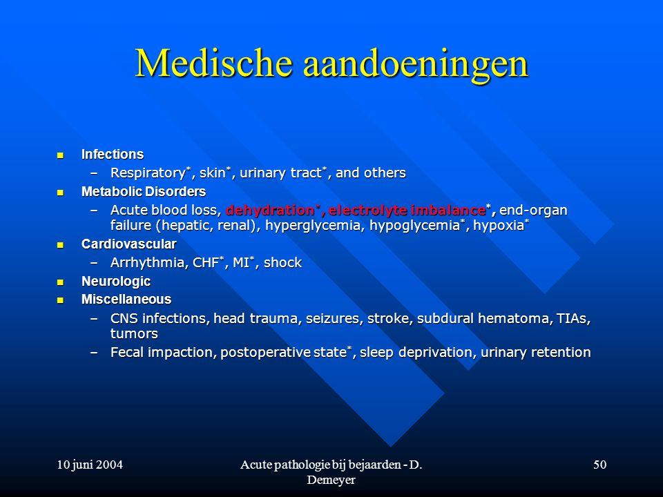 10 juni 2004Acute pathologie bij bejaarden - D. Demeyer 50 Medische aandoeningen Infections Infections –Respiratory *, skin *, urinary tract *, and ot
