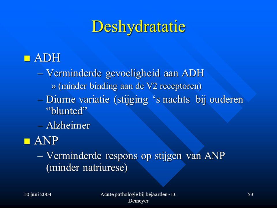 10 juni 2004Acute pathologie bij bejaarden - D. Demeyer 53 Deshydratatie ADH ADH –Verminderde gevoeligheid aan ADH »(minder binding aan de V2 receptor