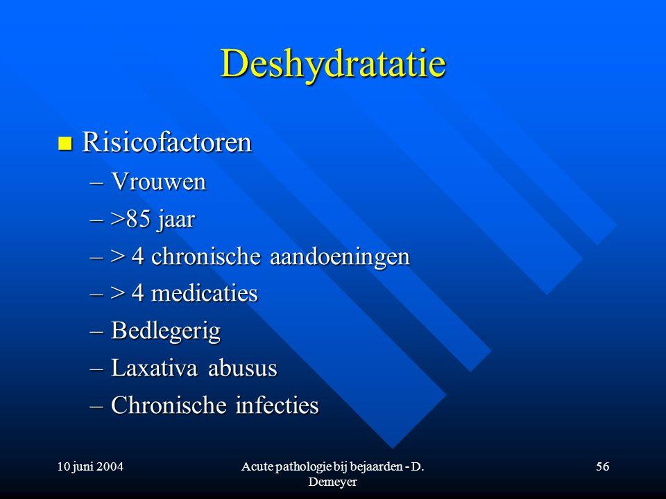 10 juni 2004Acute pathologie bij bejaarden - D. Demeyer 56 Deshydratatie Risicofactoren Risicofactoren –Vrouwen –>85 jaar –> 4 chronische aandoeningen