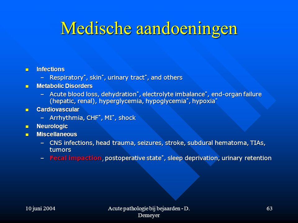 10 juni 2004Acute pathologie bij bejaarden - D. Demeyer 63 Medische aandoeningen Infections Infections –Respiratory *, skin *, urinary tract *, and ot