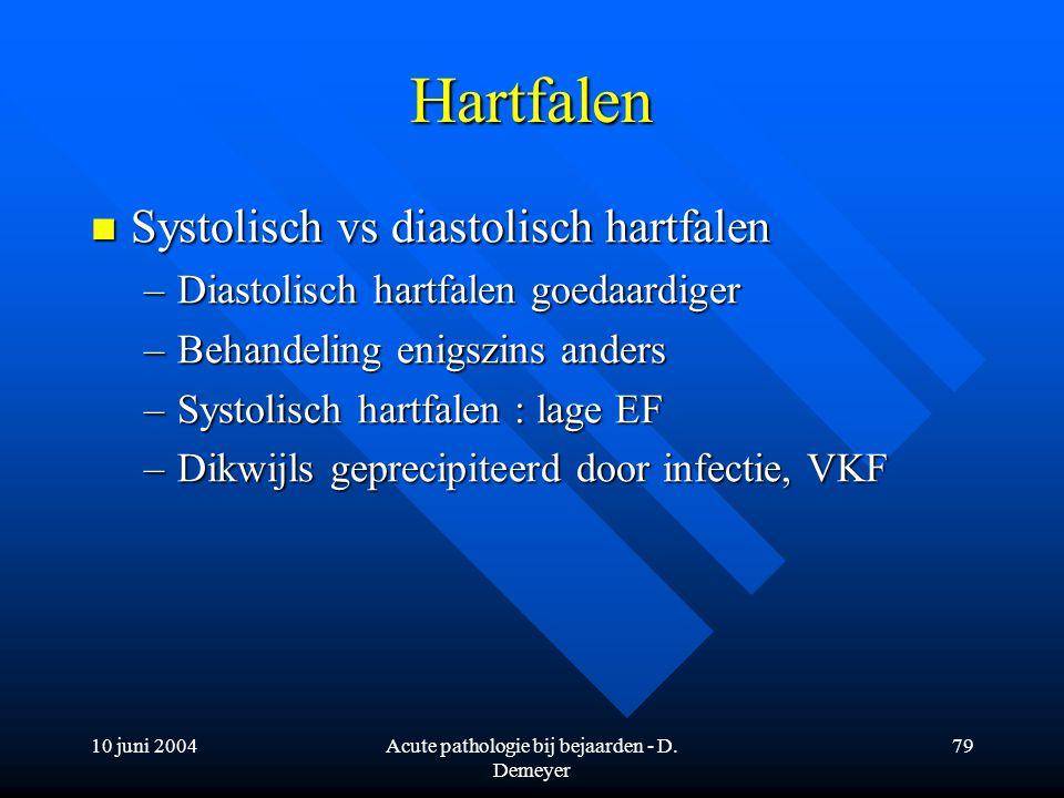 10 juni 2004Acute pathologie bij bejaarden - D. Demeyer 79 Hartfalen Systolisch vs diastolisch hartfalen Systolisch vs diastolisch hartfalen –Diastoli