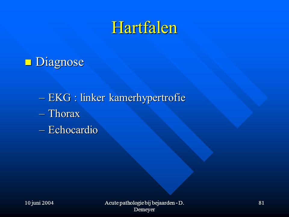 10 juni 2004Acute pathologie bij bejaarden - D. Demeyer 81 Hartfalen Diagnose Diagnose –EKG : linker kamerhypertrofie –Thorax –Echocardio