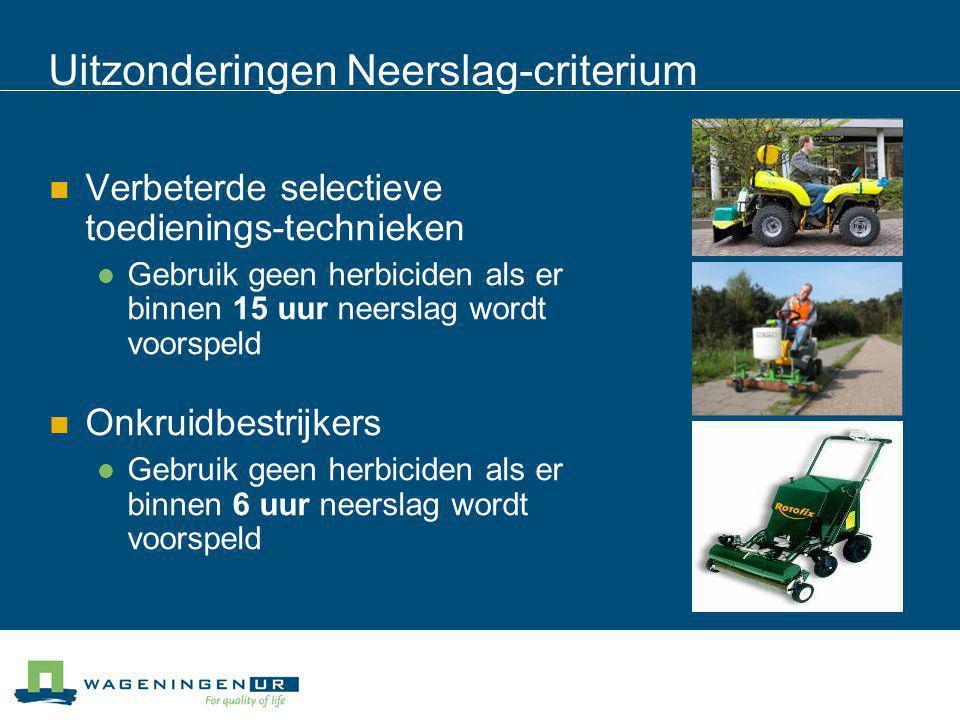 Uitzonderingen Neerslag-criterium Verbeterde selectieve toedienings-technieken Gebruik geen herbiciden als er binnen 15 uur neerslag wordt voorspeld O