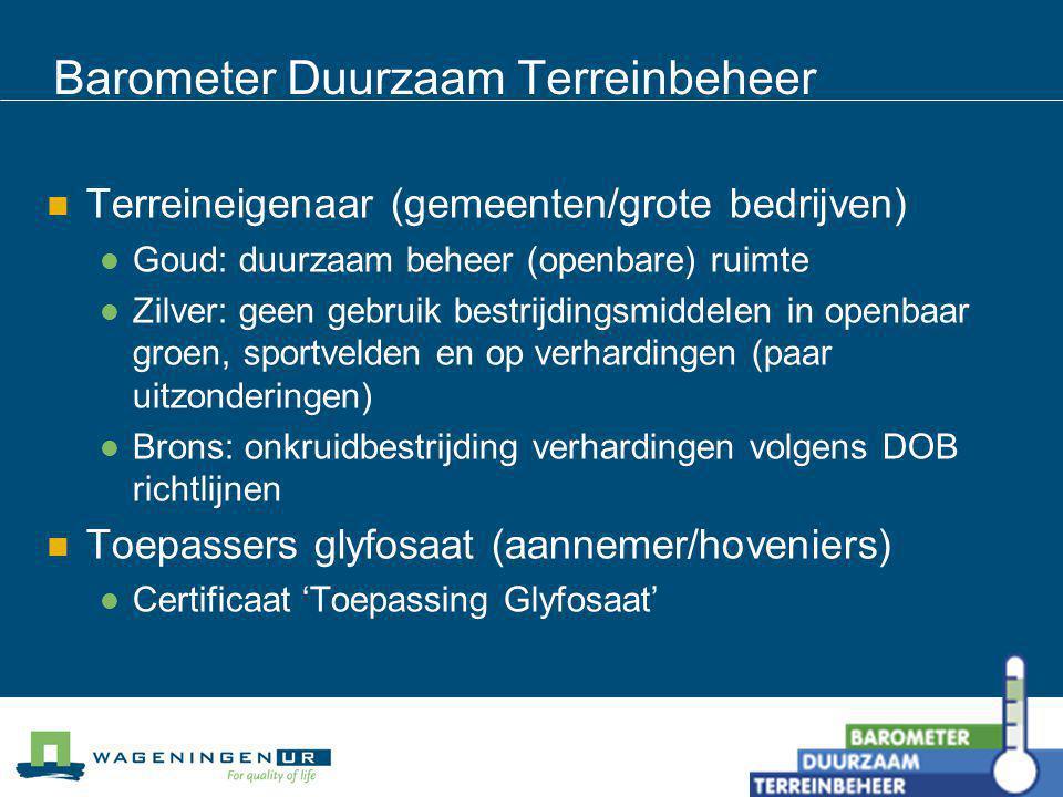 Barometer Duurzaam Terreinbeheer Terreineigenaar (gemeenten/grote bedrijven) Goud: duurzaam beheer (openbare) ruimte Zilver: geen gebruik bestrijdings