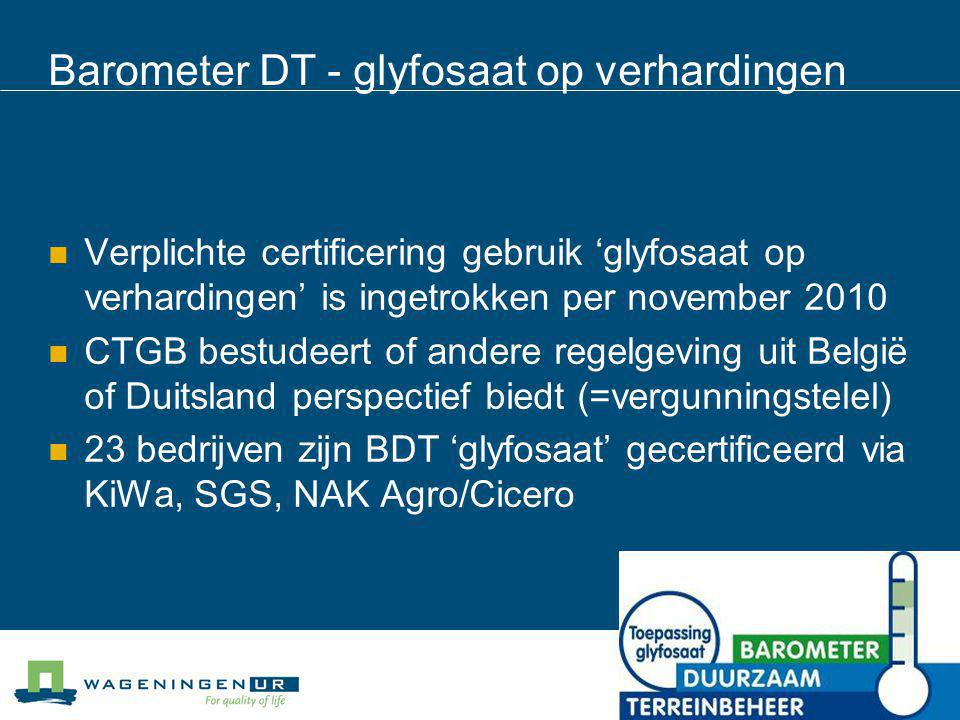 Barometer DT - glyfosaat op verhardingen Verplichte certificering gebruik 'glyfosaat op verhardingen' is ingetrokken per november 2010 CTGB bestudeert