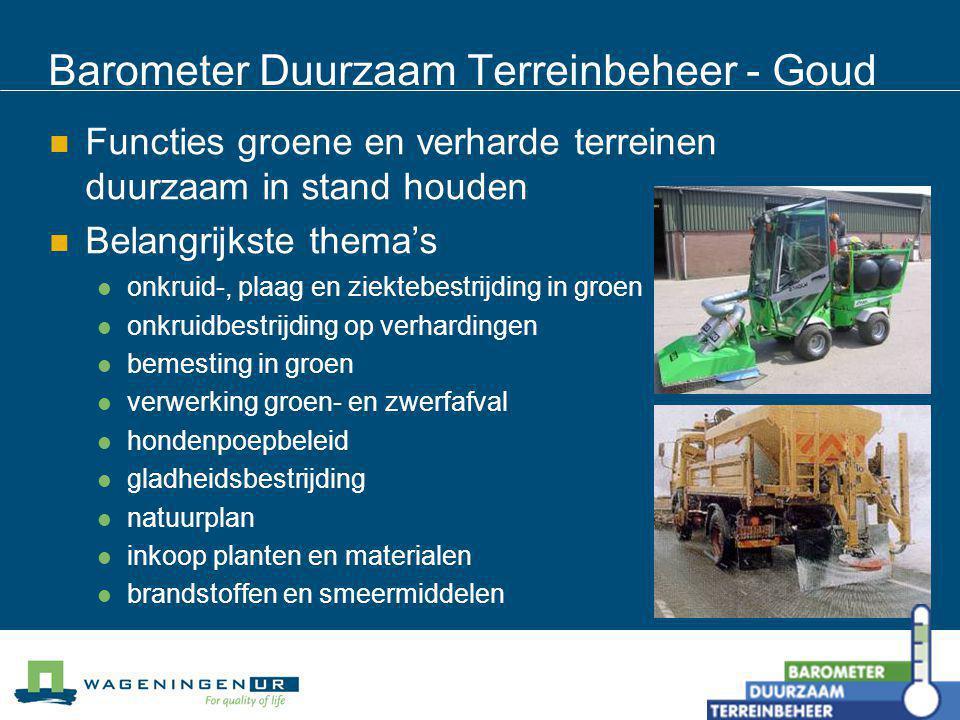 Barometer Duurzaam Terreinbeheer - Goud Functies groene en verharde terreinen duurzaam in stand houden Belangrijkste thema's onkruid-, plaag en ziekte