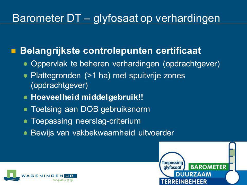 Barometer DT – glyfosaat op verhardingen Belangrijkste controlepunten certificaat Oppervlak te beheren verhardingen (opdrachtgever) Plattegronden (>1