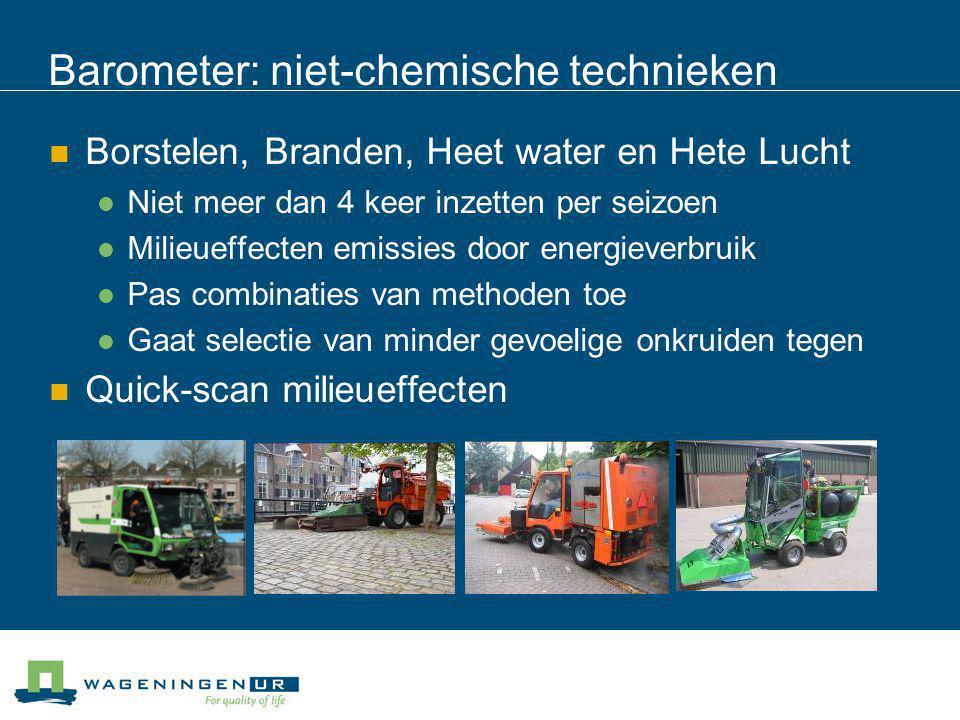 Barometer: niet-chemische technieken Borstelen, Branden, Heet water en Hete Lucht Niet meer dan 4 keer inzetten per seizoen Milieueffecten emissies do