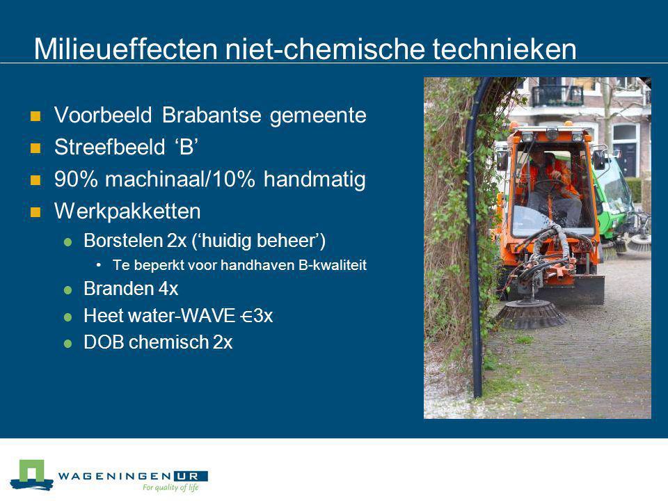 Milieueffecten niet-chemische technieken Voorbeeld Brabantse gemeente Streefbeeld 'B' 90% machinaal/10% handmatig Werkpakketten Borstelen 2x ('huidig
