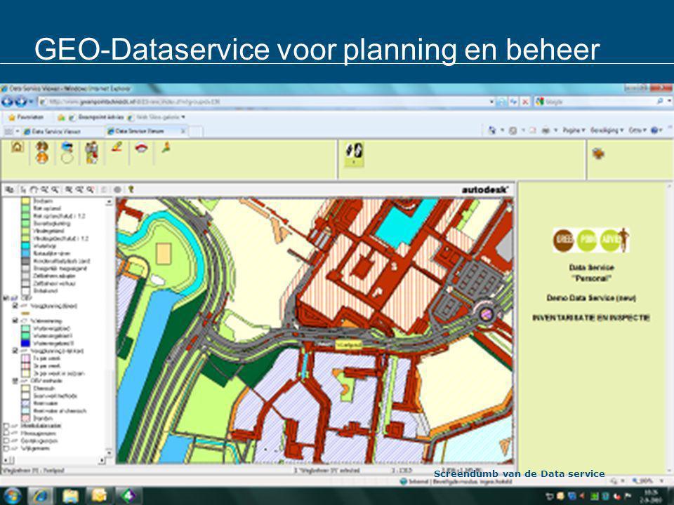GEO-Dataservice voor planning en beheer Screendumb van de Data service