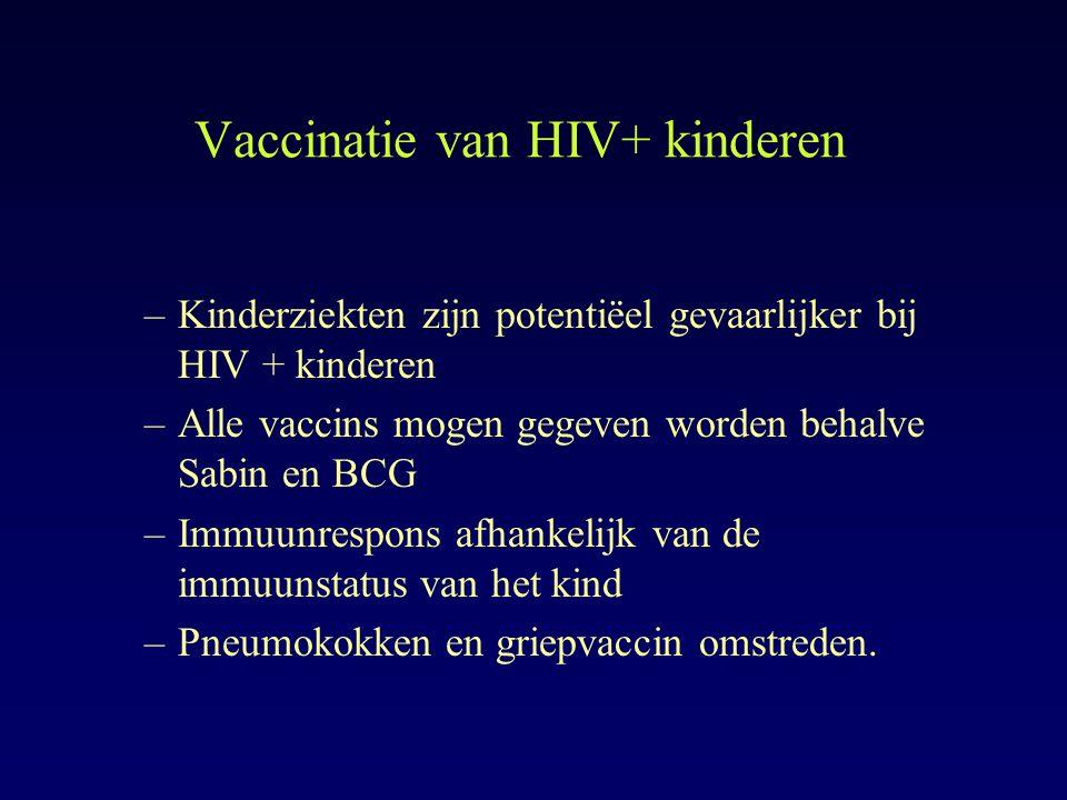 Vaccinatie van HIV+ kinderen –Kinderziekten zijn potentiëel gevaarlijker bij HIV + kinderen –Alle vaccins mogen gegeven worden behalve Sabin en BCG –I