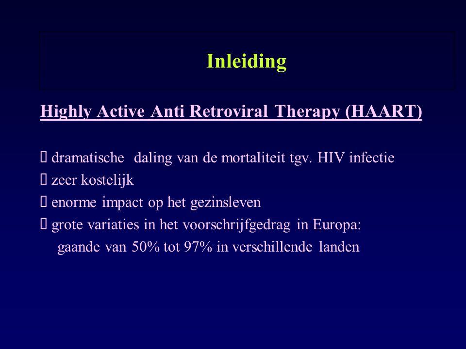Inleiding Highly Active Anti Retroviral Therapy (HAART) ø dramatische daling van de mortaliteit tgv. HIV infectie ø zeer kostelijk ø enorme impact op