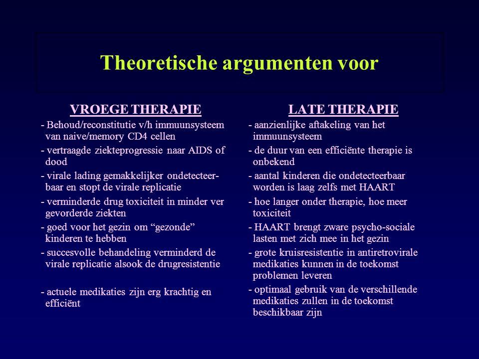 Theoretische argumenten voor VROEGE THERAPIE - Behoud/reconstitutie v/h immuunsysteem van naive/memory CD4 cellen - vertraagde ziekteprogressie naar A