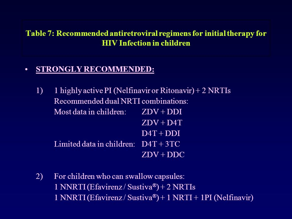Table 7: Recommended antiretroviral regimens for initial therapy for HIV Infection in children STRONGLY RECOMMENDED: 1) 1 highly active PI (Nelfinavir or Ritonavir) + 2 NRTIs Recommended dual NRTI combinations: Most data in children: ZDV + DDI ZDV + D4T D4T + DDI Limited data in children:D4T + 3TC ZDV + DDC 2)For children who can swallow capsules: 1 NNRTI (Efavirenz / Sustiva ® ) + 2 NRTIs 1 NNRTI (Efavirenz / Sustiva ® ) + 1 NRTI + 1PI (Nelfinavir)
