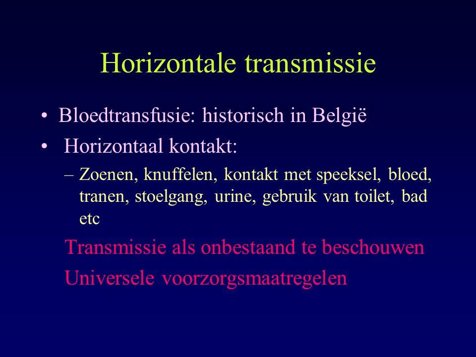 Horizontale transmissie Bloedtransfusie: historisch in België Horizontaal kontakt: –Zoenen, knuffelen, kontakt met speeksel, bloed, tranen, stoelgang,