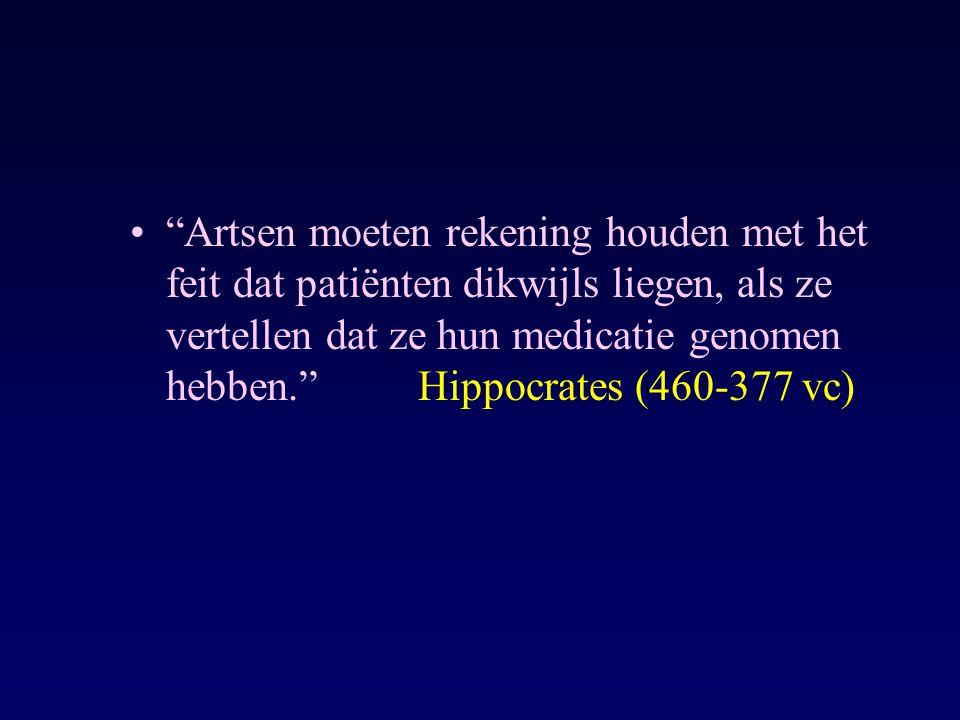 """""""Artsen moeten rekening houden met het feit dat patiënten dikwijls liegen, als ze vertellen dat ze hun medicatie genomen hebben.""""Hippocrates (460-377"""