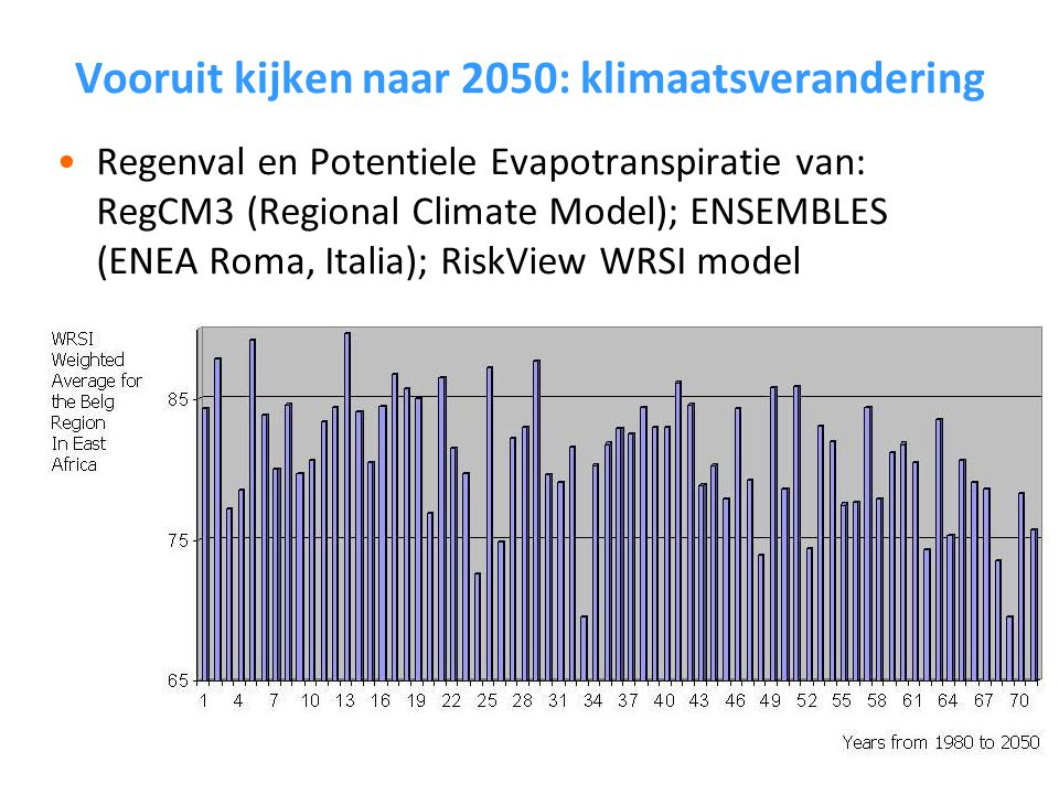 Vooruit kijken naar 2050: klimaatsverandering Regenval en Potentiele Evapotranspiratie van: RegCM3 (Regional Climate Model); ENSEMBLES (ENEA Roma, Italia); RiskView WRSI model