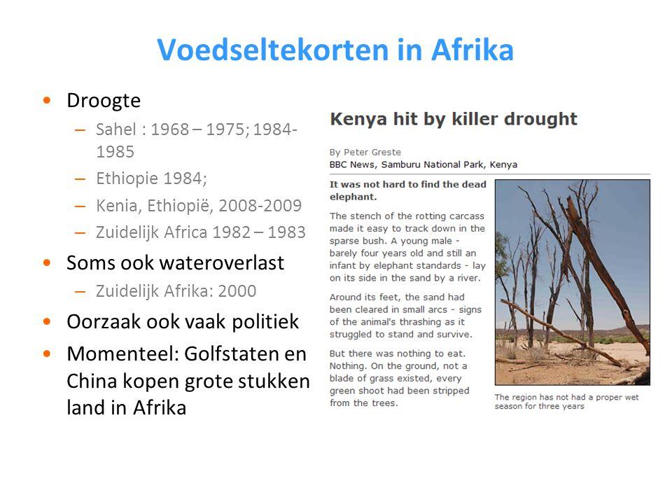 Voedseltekorten in Afrika Droogte – Sahel : 1968 – 1975; 1984- 1985 – Ethiopie 1984; – Kenia, Ethiopië, 2008-2009 – Zuidelijk Africa 1982 – 1983 Soms ook wateroverlast – Zuidelijk Afrika: 2000 Oorzaak ook vaak politiek Momenteel: Golfstaten en China kopen grote stukken land in Afrika
