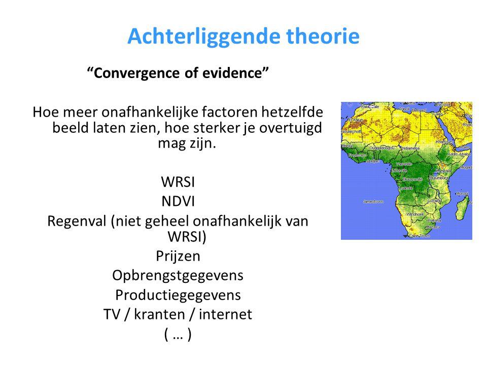 Achterliggende theorie Convergence of evidence Hoe meer onafhankelijke factoren hetzelfde beeld laten zien, hoe sterker je overtuigd mag zijn.