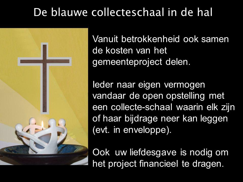 De blauwe collecteschaal in de hal Vanuit betrokkenheid ook samen de kosten van het gemeenteproject delen. Ieder naar eigen vermogen vandaar de open o