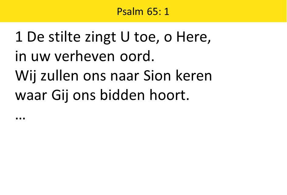 Psalm 65: 1 1 De stilte zingt U toe, o Here, in uw verheven oord.