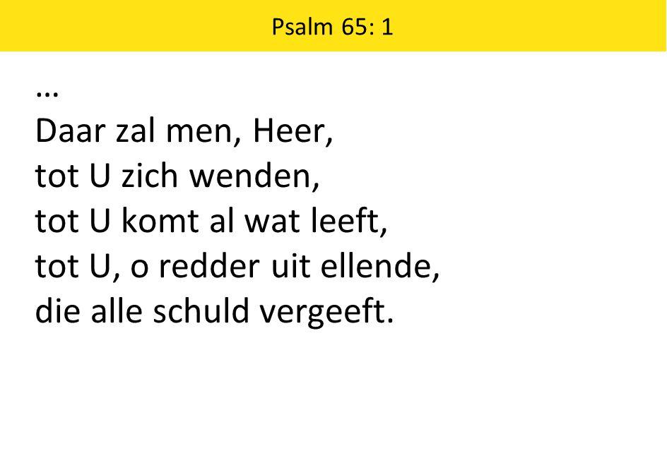 Psalm 65: 1 … Daar zal men, Heer, tot U zich wenden, tot U komt al wat leeft, tot U, o redder uit ellende, die alle schuld vergeeft.