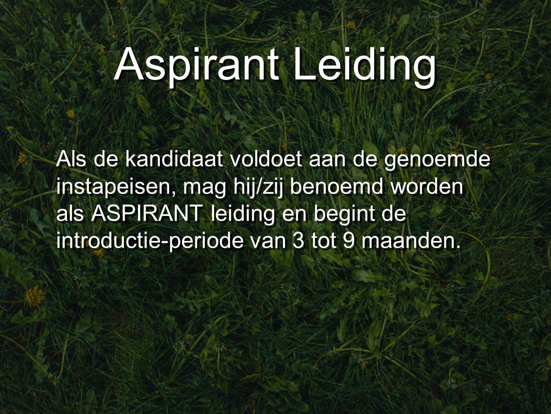 Aspirant Leiding Als de kandidaat voldoet aan de genoemde instapeisen, mag hij/zij benoemd worden als ASPIRANT leiding en begint de introductie-periode van 3 tot 9 maanden.