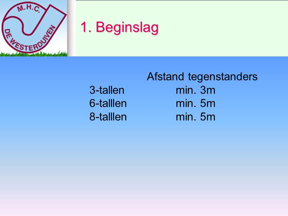 1. Beginslag Afstand tegenstanders 3-tallen min. 3m 6-talllen min. 5m 8-talllen min. 5m