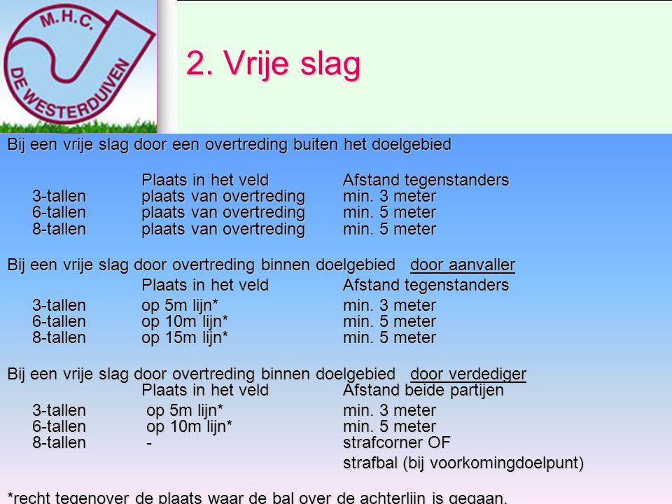 Vervolg Vrije slag 8-tallen (extra regel) Bij een vrije slag door een overtreding binnen 5m rondom het 15m doelgebied aanvaller Plaats in het veldMin.