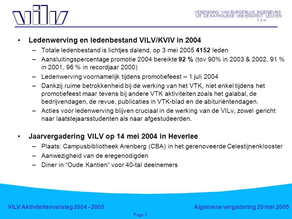 VERENIGING VAN BURGERLIJK INGENIEURS UIT DE KATHOLIEKE UNIVERSITEIT LEUVEN v.z.w. VILV Aktiviteitenverslag 2004 - 2005Algemene vergadering 20 mei 2005