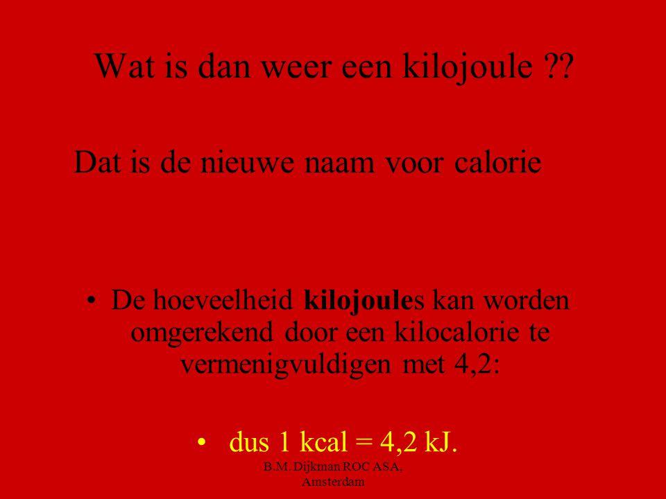 B.M.Dijkman ROC ASA, Amsterdam En hoeveel calorieën levert dan een glas bier ??.