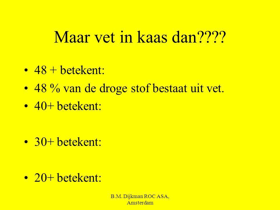 B.M. Dijkman ROC ASA, Amsterdam Oude kaas Jonge kaas Belegen kaas Extra belegen kaas Smeer kaas Overjarige kaas