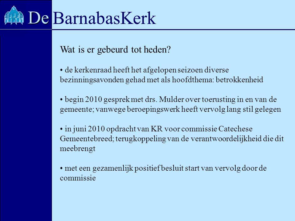 BarnabasKerk De Wat is er gebeurd tot heden? de kerkenraad heeft het afgelopen seizoen diverse bezinningsavonden gehad met als hoofdthema: betrokkenhe