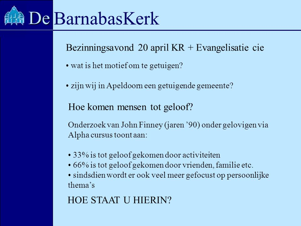 BarnabasKerk De Bezinningsavond 20 april KR + Evangelisatie cie wat is het motief om te getuigen? zijn wij in Apeldoorn een getuigende gemeente? Hoe k